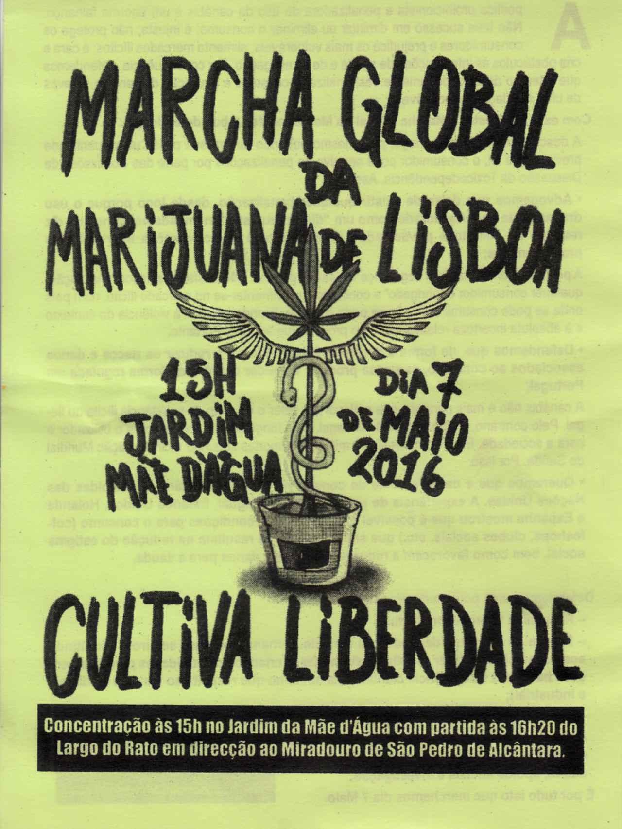 Cartel anunciando la Marcha Global de la Marihuana de 2016.