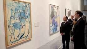 Mariano Rajoy y François Hollande visitan el Centro Pompidou de Málaga.