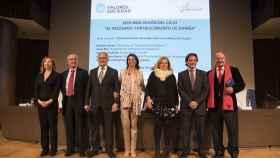 De izda. a dcha: Dolores Agenjo, Ortega Lara, Josep Bou,  Ana Velasco, Consuelo Ordóñez, Jorge Campos y Mariano Gomá.