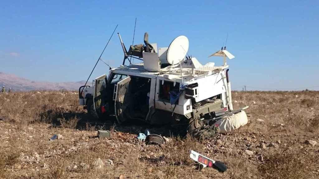 En este estado quedó el vehículo Lince accidentado al pisar una mina.