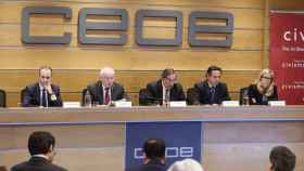 Juan Rosell (c), José Mª Rotellar (i), Julio Pomés (2i), Juan Pablo Lázaro (2d), y Rocío Albert.