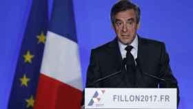 FranÇois Fillon durante su comparecencia este miércoles.