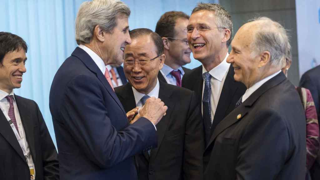 El Aga Khan IV con John Kerry y Ban Ki Moon