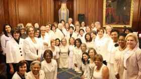 Imagen de las congresistas demócratas antes del discurso.