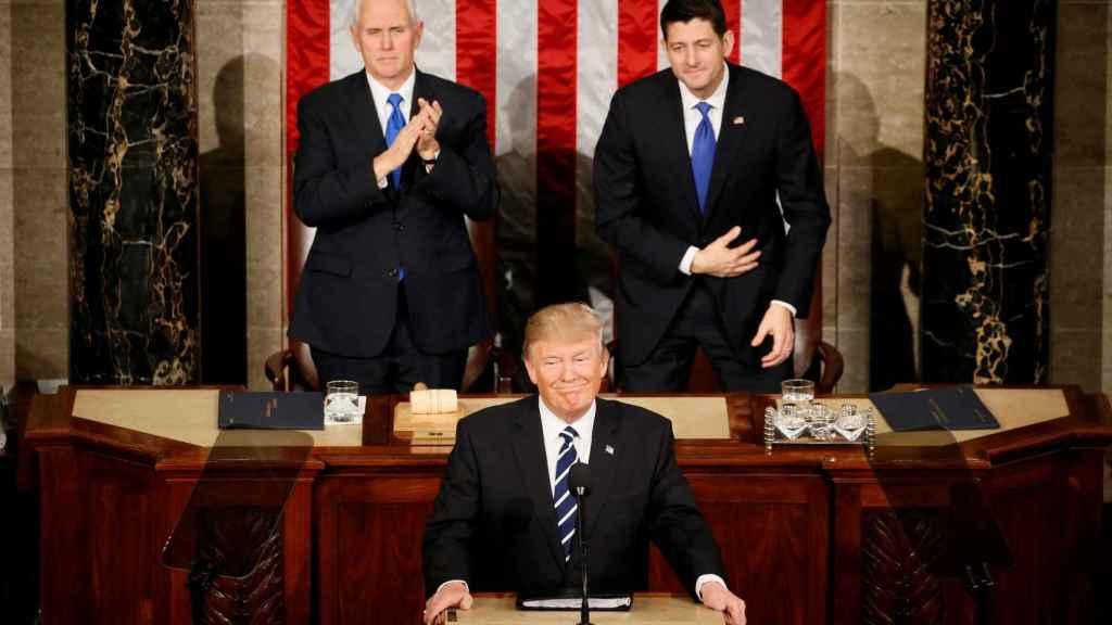 Trump, en un momento del discurso en el Congreso.