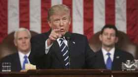 Donald Trump durante su intervención en la sesión conjunta del Legislativo.