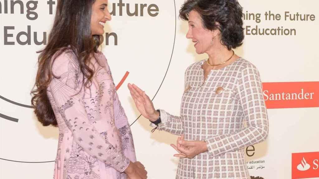 La presidenta del Banco Santander, Ana Botín, y la Ceo de la Fundación Qatar, Sheikha Hind Bint Al-Thani.