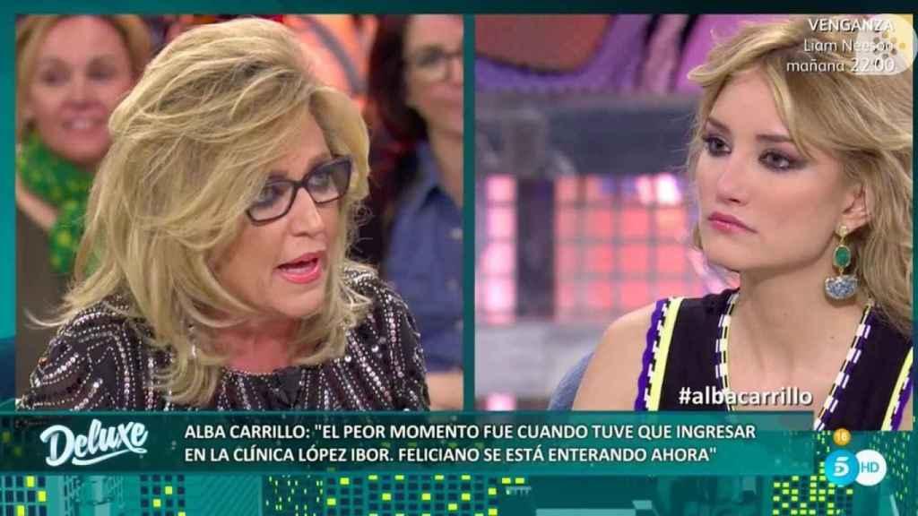 Lydia Lozano preguntando a Alba Carrillo en Sálvame Deluxe.