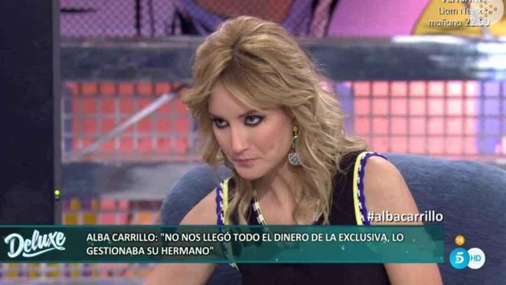 La modelo en el plató de Telecinco.