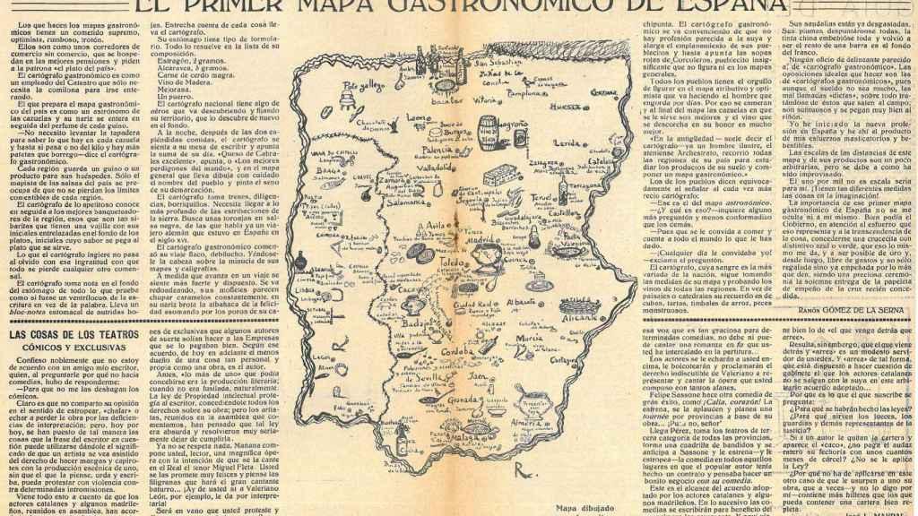 El artículo de Ramón Gómez de la Serna publicado en 'Buen Humor' junto al mapa dibujado por él mismo.