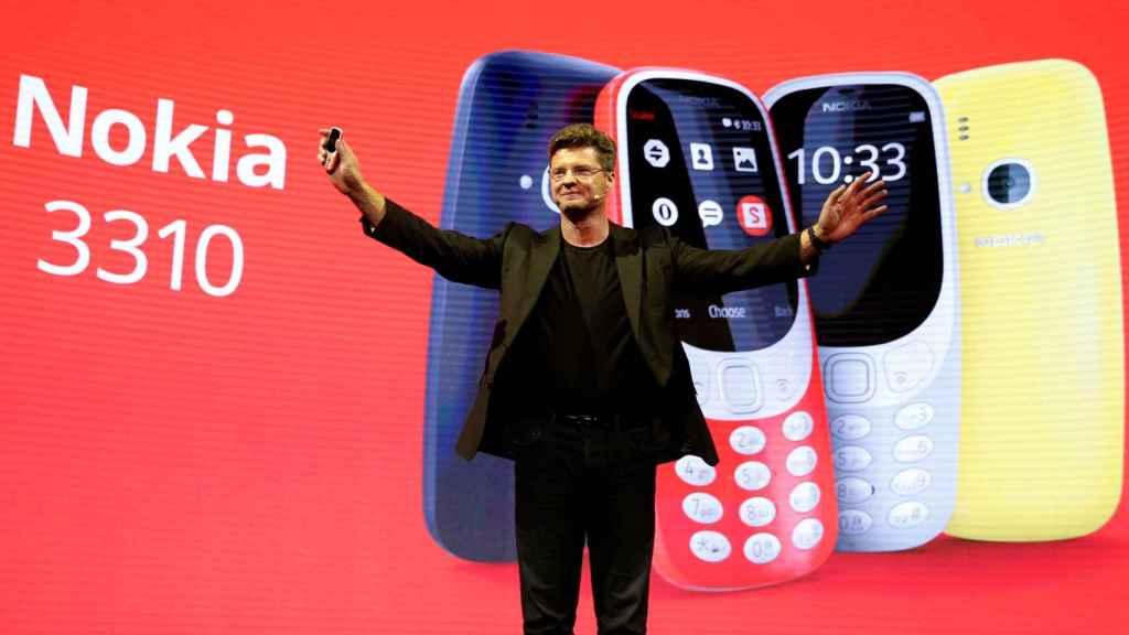 Arto Nummela, CEO of Nokia-HMD, durante la presentación del 3310.