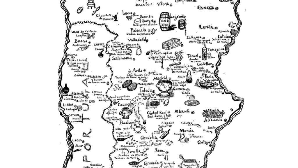 El mapa dibujado por Ramón Gómez de la Serna para la revista satírica 'Buen Humor'.