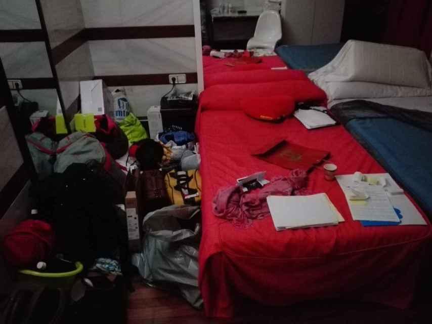 Todas las pertenencias de Evelyn estaban apiladas en el suelo de su habitación.