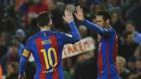 Messi y Neymar celebran un gol al Celta.
