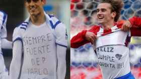 Juanmi y Griezmann mostrando sus mensajes en sus camisetas.