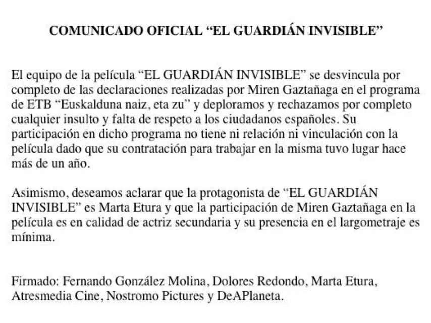 Comunicado oficial del equipo de la película El guardián invisible.