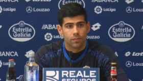 Juanfran Moreno en rueda de prensa   Foto: rcdeportivo.es