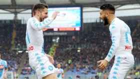 Mertens celebra su gol ante la Roma Foto Twitter sscnapoli