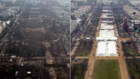 Las toma de posesión de Obama (2009) y la de Trump (2017).