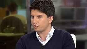 Diego Gago durante el debate que mantuvo en la televisión gallega.