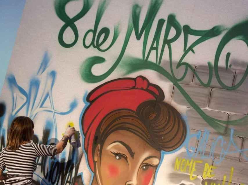 Pintada en un muro con motivo del día de la mujer trabajadora
