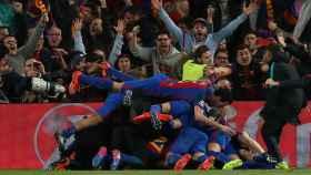 El Barcelona festeja el milagro de la remontada ante el PSG.