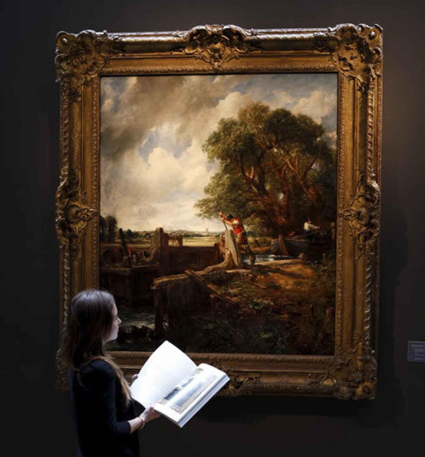 La obra de Constable, La esclusa, en la casa de subastas que la vendió, en 2012.