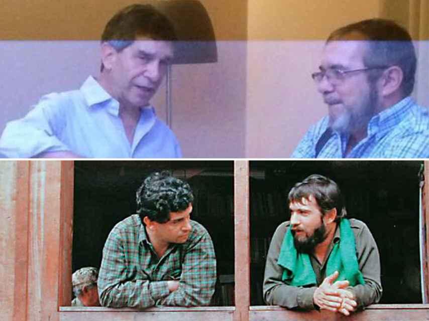 Arriba, una fotografía de Pardo y Timochenko tomada en La Habana el año pasado. Abajo, otra imagen de ambos en un diálogo con el grupo guerrillero en 1989.