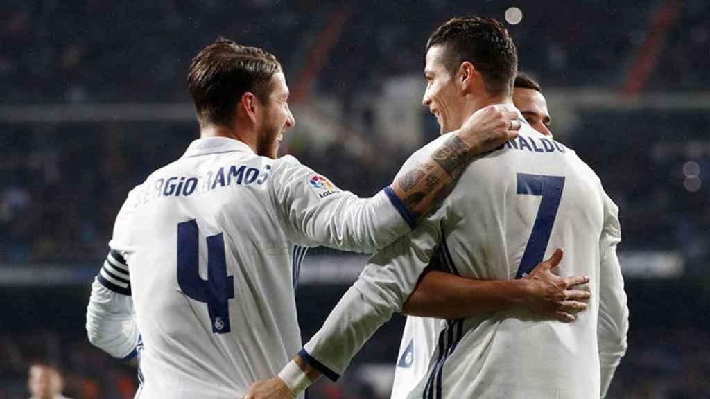 Sergio Ramos y Cristiano Ronaldo ante la Real Sociedad