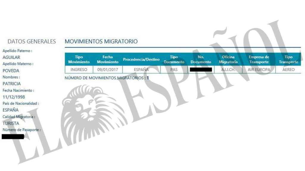 Documento que certifica la entrada en Perú de Patricia Aguilar.