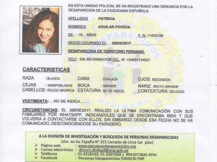 La alerta de búsqueda de la policía peruana sobre Patricia Aguilar.