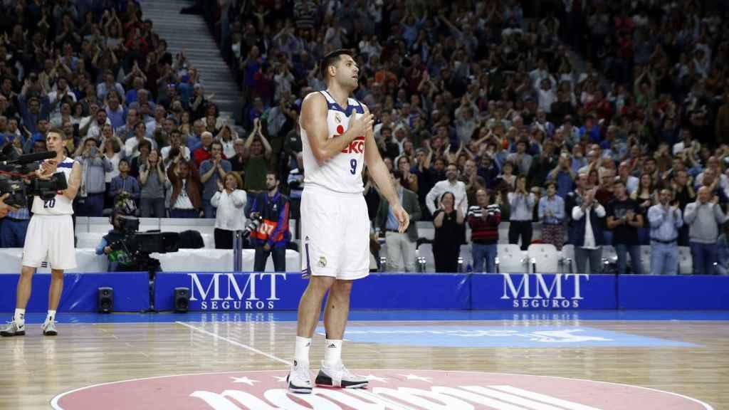 Felipe Reyes tras convertirse en el máximo reboteador histórico de la ACB.