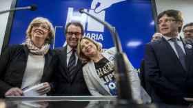 Irene Rigau, Artur Mas, Joana Ortega y Carles Puigdemont este lunes tras conocer la sentencia