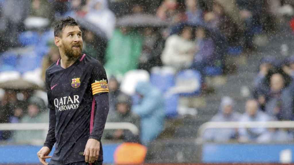 Messi, durante el partido contra el Deportivo en Riazor.