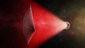 Ilustración de una vela solar impulsada por infrarrojos.