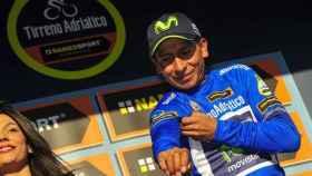 Nairo Quintana celebra su victoria.