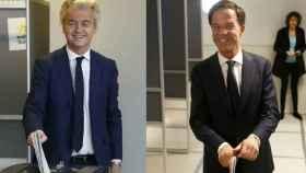 El ultraderechista Wilders (izquierda) y el primer ministro Mark Rutte, han votado en La Haya.