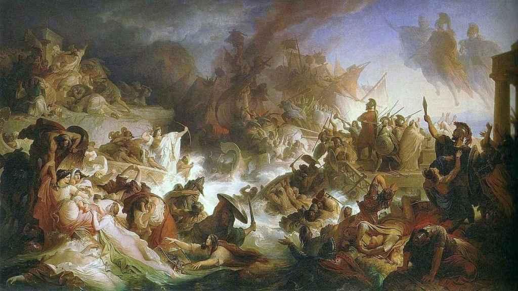 Pintura que describe la Batalla de Salamina, cuyo puerto ha sido encontrado por un equipo de arqueólogos.