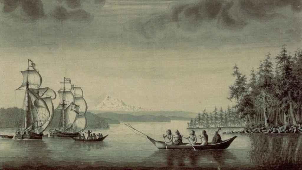 Nativos canadienses se dirigen a las naves españolas.