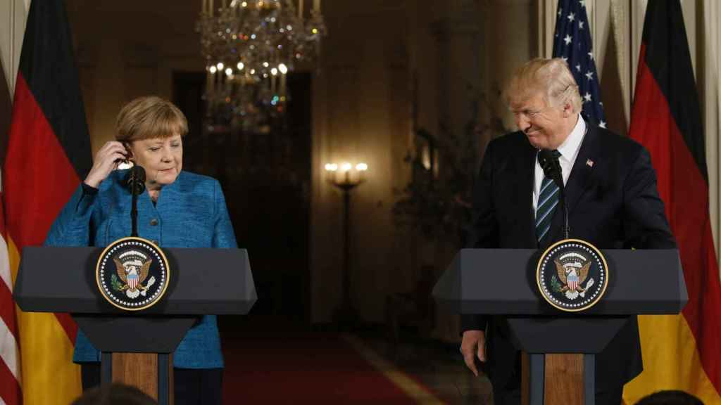 Merkel y Trump en su comparecencia ante los medios tras su encuentro en Washington.