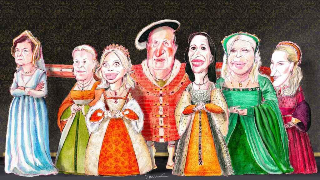 Ilustración con las principales mujeres que han marcado la vida de Juan Carlos I. De ziquierda a derecha: la reina Sofía, Gabriela de Saboya, Corinna zu Sayn-Wittgenstein, Marta Gayà, Bárbara Rey y Olghina de Robilant.