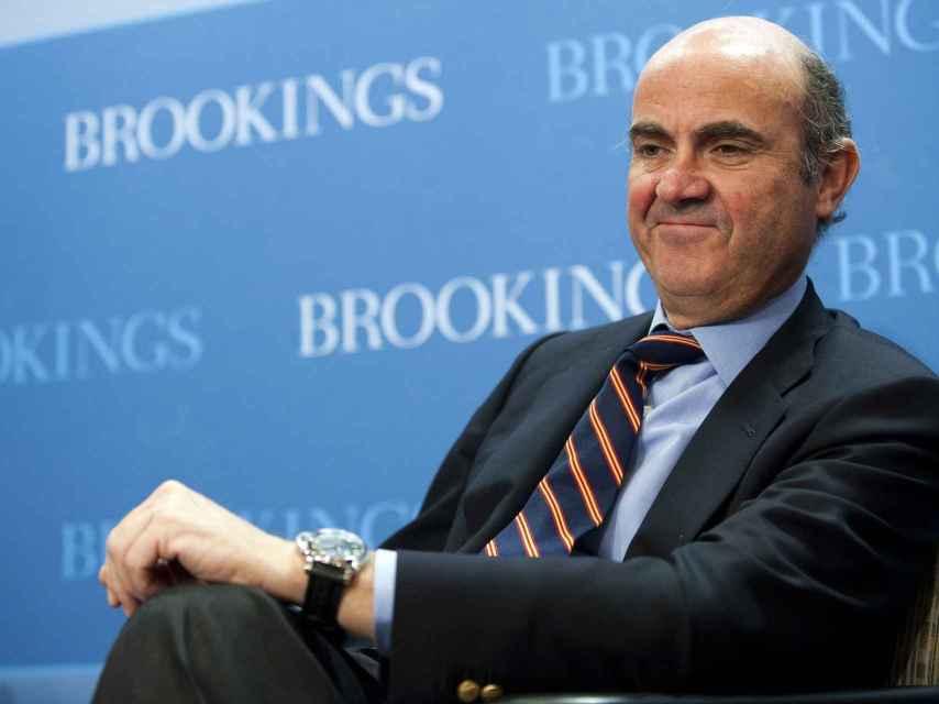El ministro de Economía Luis de Guindos en una conferencia en Washington DC.
