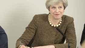 La primera ministra May, en un acto público este lunes