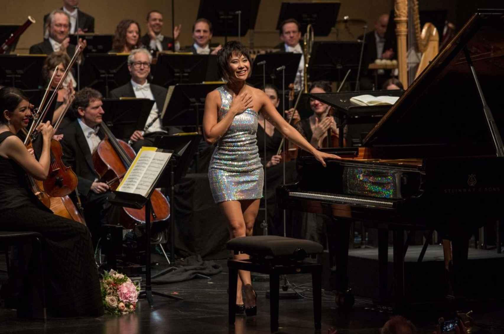 Yuja Wans tras interpretar Rhapsody in Blue, de Gershwin.