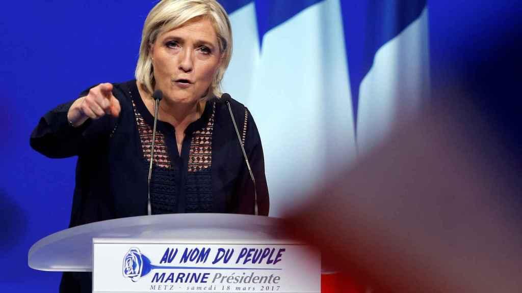 Le Pen en un acto de campaña del Frente Nacional.