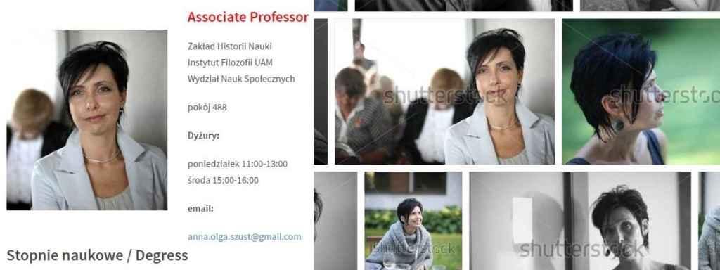 Izquierda, la página personal de Szust en la UAM. A la derecha, la foto original.