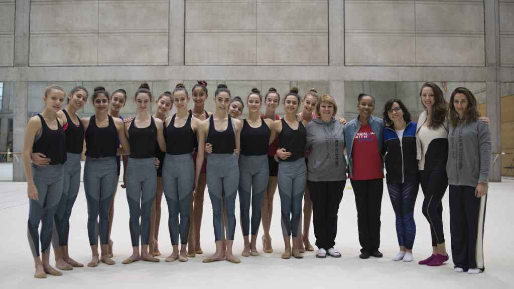 El equipo español de gimnasia rítmica.