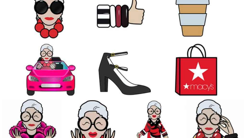 Los emoticonos creados para Iris Apfel. | Foto: Apple Store.