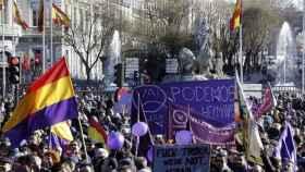 La plaza de Cibeles durante una manifestación reciente.