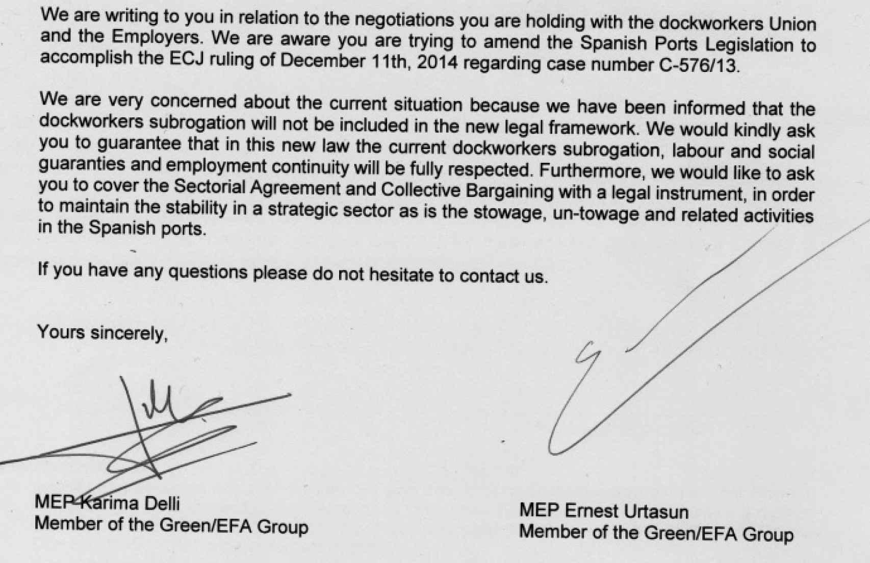 Extracto de la carta enviada al ministro.